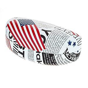 Sunglasses & Glasses Case USA Flag News Letter Print Oval Hardcase - Black