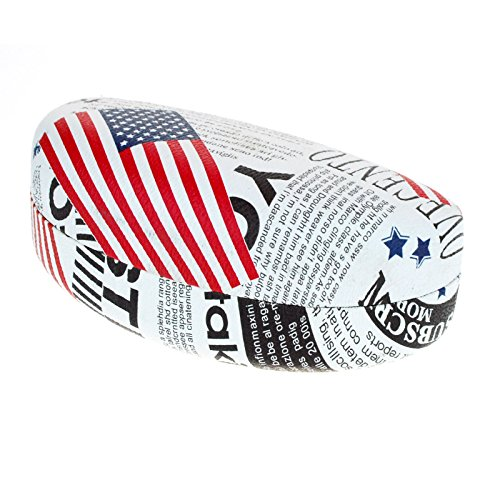 Sunglasses & Glasses Case USA Flag News Letter Print Oval Hardcase - - News Sunglasses