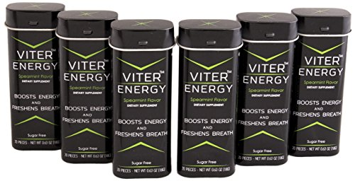 Viter Energy Spearmint Caffeinated Mints - Powerful 40mg of Caffeine In Each Refreshing Sugar Free Mint - Boost Focus and Wake Up. 2 Mints Replace 1 Coffee, Energy Drink, or Caffeinated Candy
