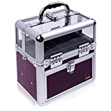 Shany Studio Quality Clear Top Nail Polish/nail Accessories Organizer-clear Top Makeup Case-Purple