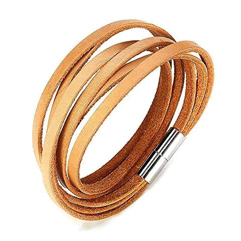 JewelrieShop Monotone Rough Finish Genuine Leather Wrap Magnetic Bracelet Wristband - Genuine Rough