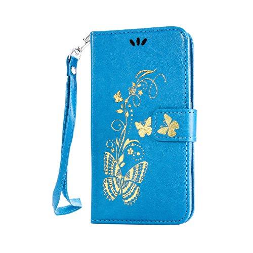 Ecoway Schutzhülle / Cover / Handyhülle / Etui für Sony Xperia X Bräunung Goldschmetterling Muster Design Folio PU Leder Tasche Case Hülle im Bookstyle mit Standfunktion Kredit Kartenfächer - blau Bronzing