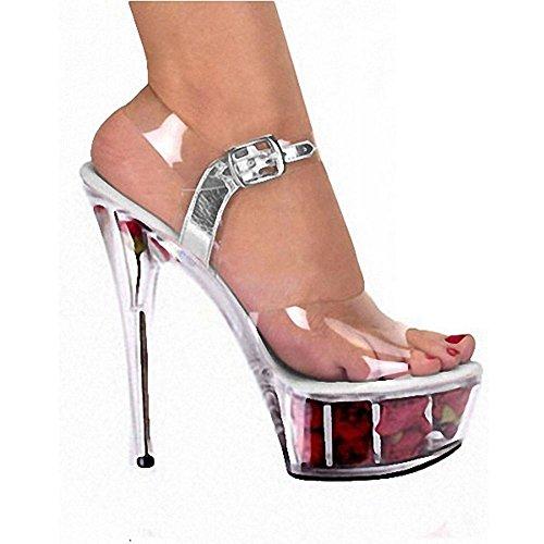 L@YC Tacones altos De Las Mujeres De Cristal De Fondo Grueso Impermeable Tabla De 15 Cm Ball TamañO Grande Vestido De Boda Zapatos B