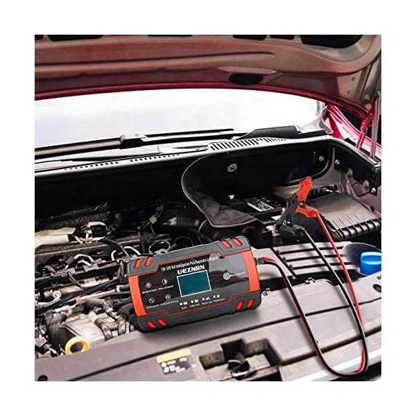 51NgK3E4vML Ueznirn Ladegerät Autobatterie 12V/24V KFZ Batterieladegerät Vollautomatisches Intelligentes Erhaltungsladegerät mit LCD…