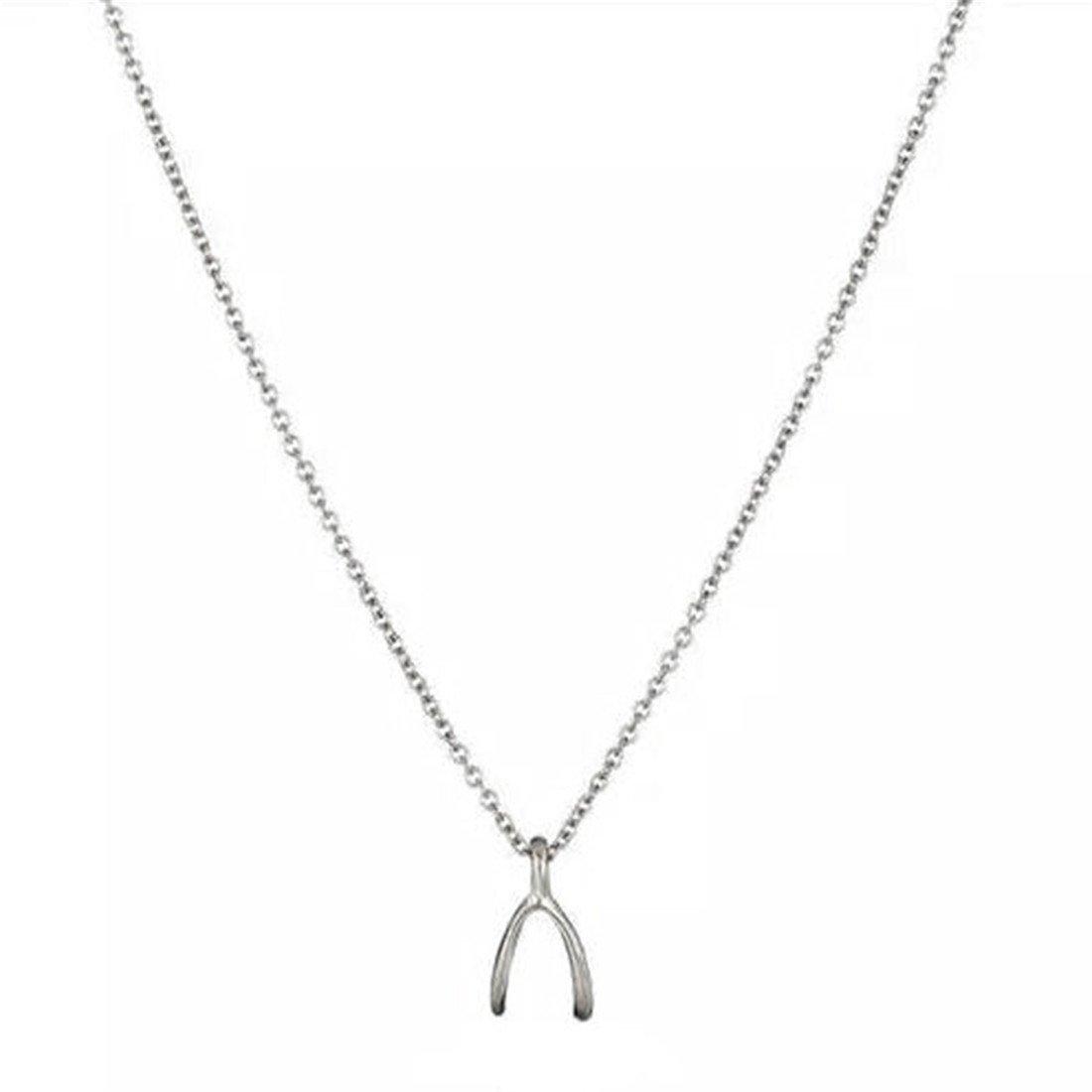VWH 1 pcs Women Girls Alloy Pendant Necklace Clavicle Bone Chain Necklace Christmas Gift (Wish bone)