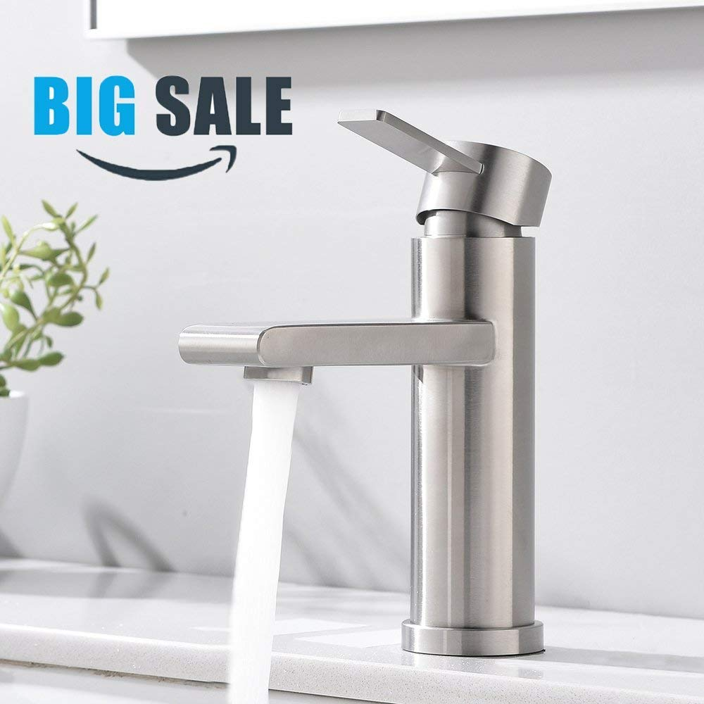 VCCUCINE Modern Commercial Brushed Nickel Single Handle Bathroom Faucet, Laundry Vanity Sink Faucet With Two 3/8'' Hoses by VCCUCINE