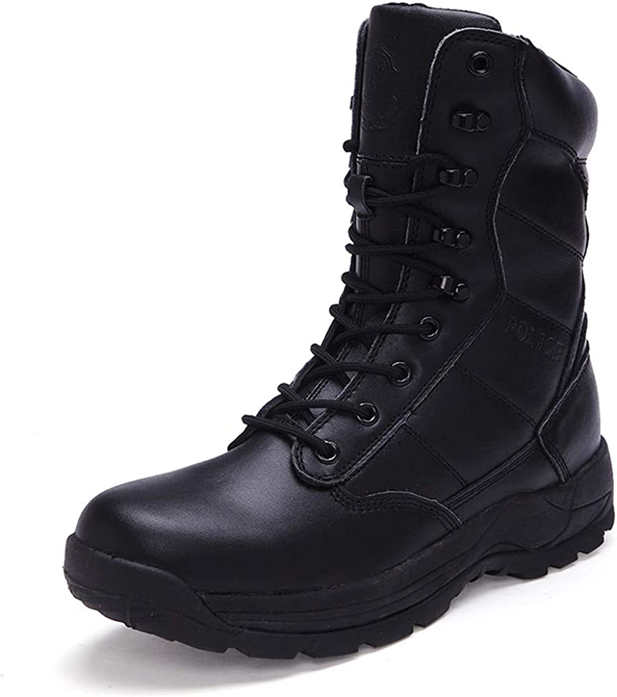 WOJIAO Unisexo Hombres Mujeres Alta Ayuda Policía Militar Botas de Combate Desperdicios de Cuero Negro Combate Zapatillas de Deporte de Invierno Amantes de Tobillo