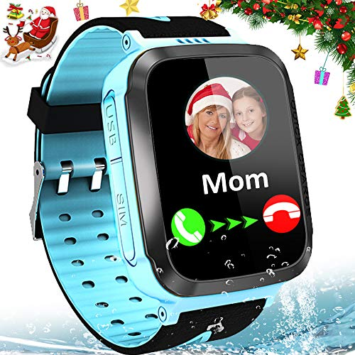 "Kids Smart Watches for Girls Boys GPS Tracker IP67 Waterproof Smartwatch Phone Two Way Call SOS Camera Math Game Vice Chat Alarm Clock LED Flashlight 1.44"" Touch Screen Christmas Birthday Gift"