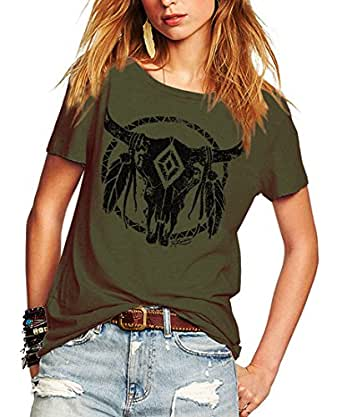 Romastory Womens Street Pattern T-Shirt Short Sleeve Loose Summer Top Tee (S Army Green)