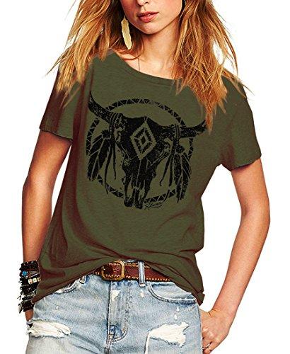 Romastory Womens Street Pattern T-Shirt Short Sleeve Loose Summer Top Tee (XL, Army Green) ()