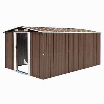 vidaXL Caseta de Jardín de Metal Marrón 257x398x178cm Jardín Patio Cobertizo: Amazon.es: Bricolaje y herramientas