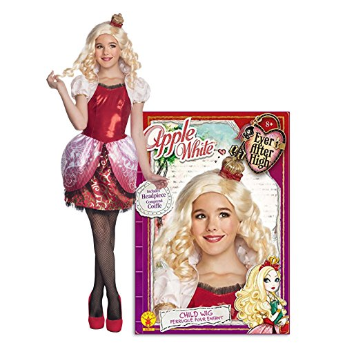 Ever After High Apple White Deluxe Child Costume and Wig Bundle - M(8/10)