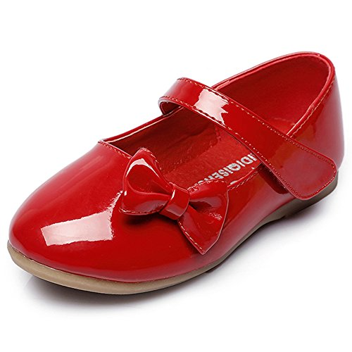 Maxu Spring Autumn PU Girls Dressy Mary Jane Flats,Red,8M US (Dressy Toddler Shoes)