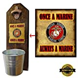 """""""Marine Corps"""" Bottle Opener and Cap Catcher, Wall Mounted – Handcrafted by a Vet – 100% Solid Pine 3/4″ Thick – Rustic Cast Iron Opener and Galvanized Bucket – Great Veteran Gift! Semper Fi!"""