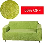 MOVING GARDEN Jacquard Sofa Covers Stretch Elastic Fabric Flower Printing Chari Loveseat Sofa Slipcovers Pet Dog Couch Protector (2 Seater, Grass Green)