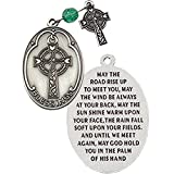 P-05 Celtic Irish Pocket Prayer Medallion with Celtic Cross and Emerald Color Prayer Bead