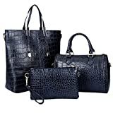 Women Handbag,Women Bag,KINGH Crocodile PU Leather 3 Pcs Tote Handbag Purse Set 102 (Deep Blue)
