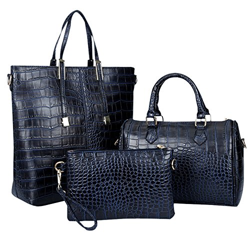 Women Handbag,Women Bag,KINGH Crocodile PU Leather 3 Pcs Tote Handbag Purse Set 102 (Deep Blue)