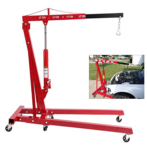 2 Ton High Lift (Ridgeyard 2 Ton 4400 lb Heavy Duty Foldable Hydraulic Jack Engine Motor Hoist Lift Shop Crane Swivel Castor Workshop Lifter)