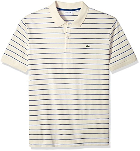 Lacoste Men's Short Sleeve Striped Mini Pique Regular Fit Polo, PH3150, Vanilla Plant/White-Marino, (Lacoste Crocodile Logo)
