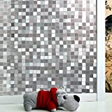 Image of New Lifetree No-Glue Static Decorative Privacy Window Films Vinyl Mosaic for Your Bathroom and Bedroom(17.7by78.7Inch)