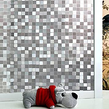 New Lifetree No Glue Static Decorative Privacy Window Films Vinyl Mosaic  For Your Bathroom And