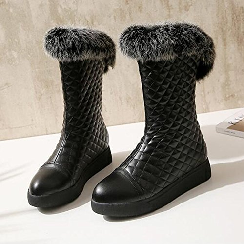 Mid Fur Toe Platform Summerwhisper Snow Trendy Women's Black on Calf Slip Fleece Faux Round Lined Plaid Flats Boots YwtO1w