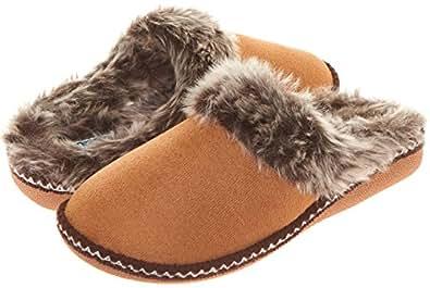 Floopi Womens Indoor Outdoor Aztec Two Tone Fur Lined Clog Slipper W/Memory Foam (XL, Chestnut-305)