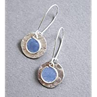 womens lightweight handmade Beads by Bettina silver tone small periwinkle resin earrings