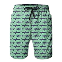 CREAT Men's Quick Dry Shark Wall Swim Trunks With Pockets