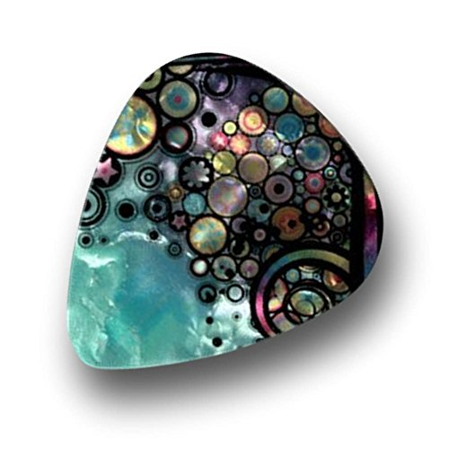 "Unique and Custom (.76 MM Thick) Medium Gauge Hard Plastic, Traditional Style""Semi Tip"" Guitar Pick w/Pearly Creative Floral Circle Collage Design {Assorted Colors - 12 Picks Dozen Bulk Multipack}"
