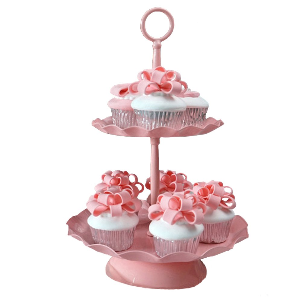 2 Tier Cupcake Stand, Botitu Pink Cupcake Holder Tower with Plate- Stainless Steel Tiered Cake Stand Plate- Reusable Dessert Serving Stand- Hold 13 Cupcakes Display for Wedding Party(13.8 inch tall)