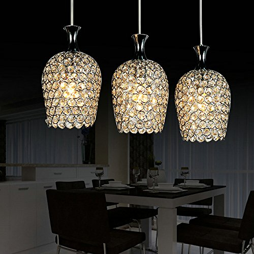 Dinggu Modern 3 Lights Crystal Pendant Lighting For Kitchen Island And Dining Room