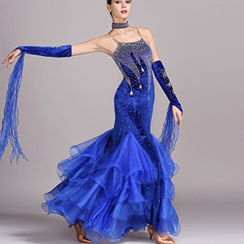 Donne Prestazione Maniche Moderna Royalblue Per Sling Ballo Competizione Tuta Costume Danza Gonna Big Da Wqwlf Abito Valzer Senza Swing Nazionale xl L R6wXpnq