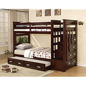 Acme Furniture 37370 Allentown Twin Over Twin Bunk Bed with Storage Ladder & Trundle