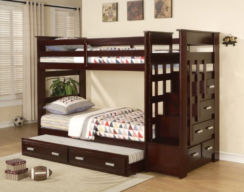 ACME 10170 Allentown Twin/Twin Bunk Bed with Storage Drawers and Trundle Espresso Finish