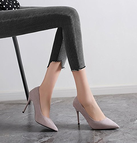 L High Sexy All Pointed MDRW Lady 39 Match Leisure Shoes A Suede Shoes Spring Grey Dress Work Elegant With 10Cm Heeled Fine OnBCnRqZ