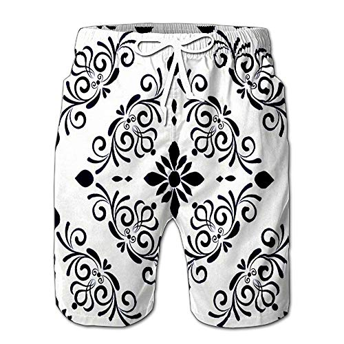 Summer Shorts Pants Baroque Style Damask Floral Flower Ornament Blue and White Vases Simple Swim Trunks Stripe Casual Swim Shorts XXL ()