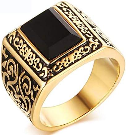の灰のための骨壷 メンズリングアゲートリングステンレススチールリングゴールド、ゴールド、11、サイズ:8、カラー:ゴールド ペットの灰 (Color : Gold, Size : 8)