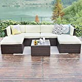Wisteria Lane Outdoor Rattan Sectional Sofa,7-Piece Patio Furniture Set Chair Couch Ottoman&Coffee Table,Brown Wicker Sofa Light Yellow Washable Cushions