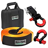 ALL-TOP 4x4 Recovery Gear Kit with Hitch Receiver: 3 inch x 30 ft (32,000 lbs) 100% Nylon Snatch Strap + 2\