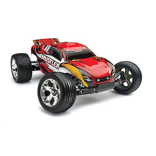 Traxxas RTR 1/10 Rustler with Water Proof XL-5 RTR and 7 Cell Battery with Charger, Red by Traxxas