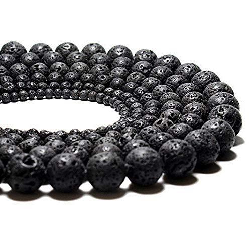- Black Volcanic Lava Stone Rock Gemstone Gem Round Charm Natural Stone Beads 10mm 1 Strand 15.5
