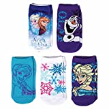 Disney's Frozen Elsa, Anna, & Olaf Character Little Kid Girls 5 Pack Socks - Size 7-9