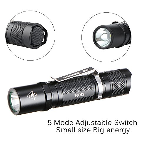 ThorFire TG06S Flashlight 500 Lumen Ultra Bright 5 Modes EDC Cap Light Mini Pocket Torch Powered By One AA or 14500 Battery Not Included, TG06 Upgraded Version