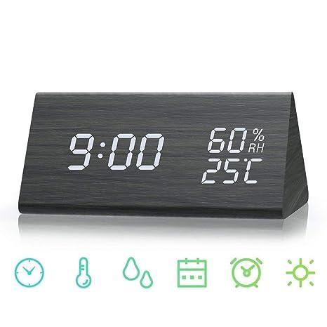 SHENGMI Reloj de Alarma Digital, Modo de Tiempo Dual (12/24),