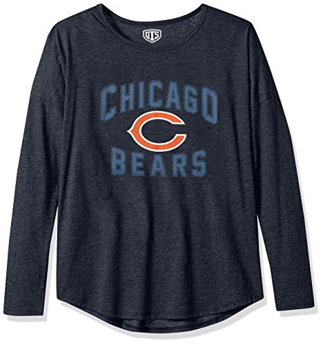NFL Chicago Bears Female OTS Triblend Long sleeve Dolman Tee, Fall Navy, Large