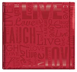 """MCS MBI 13.5x12.5 Inch Embossed Gloss Expressions Scrapbook Album with 12x12 Inch Pages, Red, Embossed """"Live, Laugh, Love"""" (848115)"""