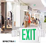 SPECTSUN Exit Sign with Emergency Light, Green