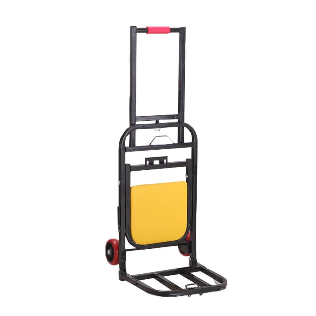 ALUP- ハンドトラックは、ポータブルは、コロラド荷物カートを座ることができます牽引車のアイアンアートトロリーは、シートと小さなトレーラー70キロ負荷 (色 : PU wheel) B07KY94WDT PU wheel